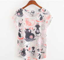 2015 New Fashion Vintage Spring Summer T Shirt Women Clothing Tops Blouse Flower cat Print T