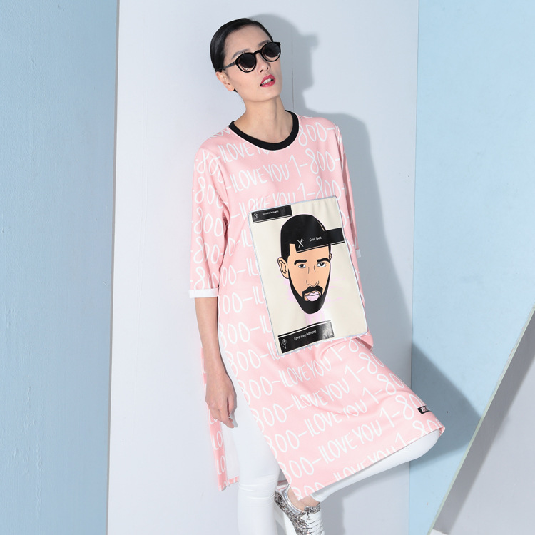 2016 New Spring Women Korean Dress Plus Size Chiffion Maxi Dress Loose Short Sleeved Cartoon Printing Long T-shirt Dress RE710(China (Mainland))