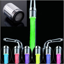 2016 New Fashion LED Water Faucet Stream Light 7 Colors Changing Glow Shower Tap Head Kitchen Temperature Sensor hot selling(China (Mainland))
