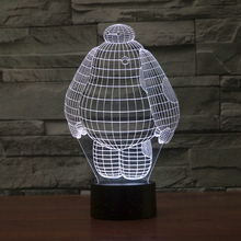 3D illusion creative table lamp with baymax shape with 7 color light 2854(China (Mainland))