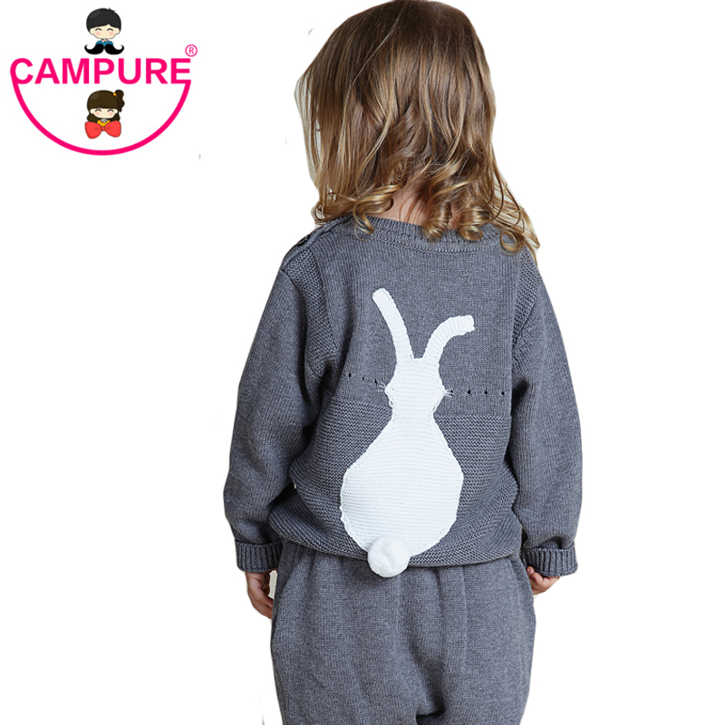2016 Spring New Arrival Casual Knitted Cute Bunny Baby Girls Sweater 1-5Y Kids Rabbit Pattern Clothes Baby Sweater Girls Sweater(China (Mainland))