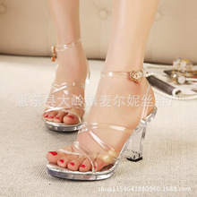 2016 years of new crystal with jelly sandals female peep toe transparency heels fashion summer new waterproof women shoes