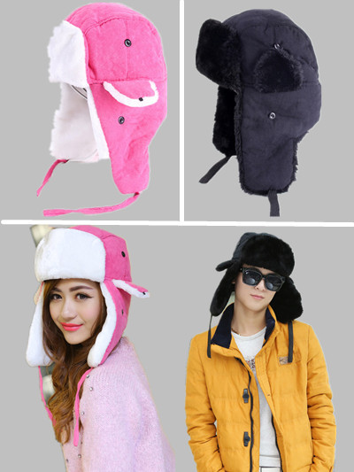 YKM 2014 New Fashion Faux Rabbit Fur Bomber Hats Wind Proof Russian Hat Winter Ear Protect Warm Fur Hat Women/Men Free Shipping(China (Mainland))