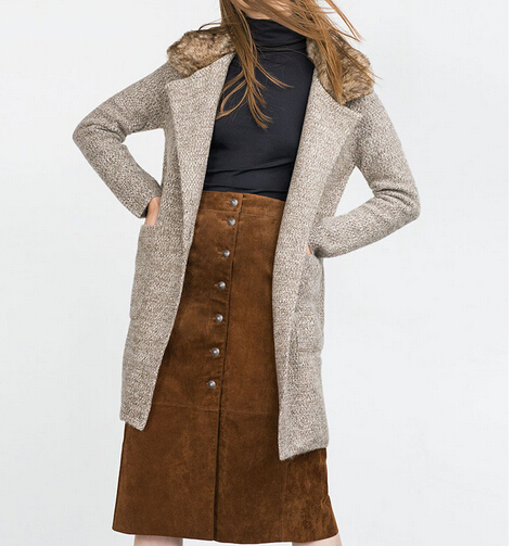 2015 Genuine Women Knitted Coat Large Lapels Faux Furry Collar Long Slim Trench Cardigan Single Button Big Patch Pockets