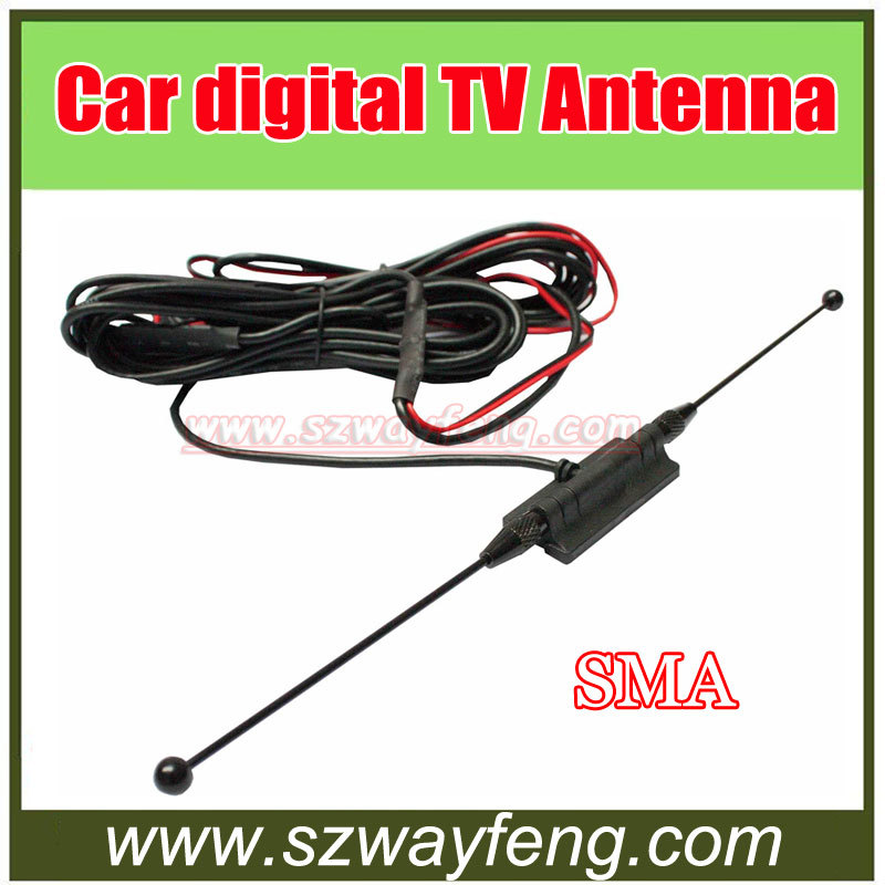 Car Digital TV Antenna Aerial with a Amplifier Booster SMA connector 5M+Free shipping(China (Mainland))