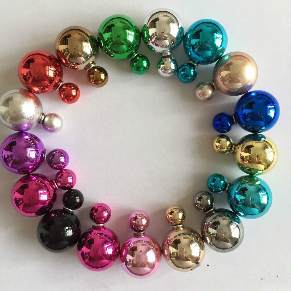 Гаджет  Korea sided pearl stud earrings cute candy pearl size ball stitching small fragrant Korean Fashion Earrings None Ювелирные изделия и часы