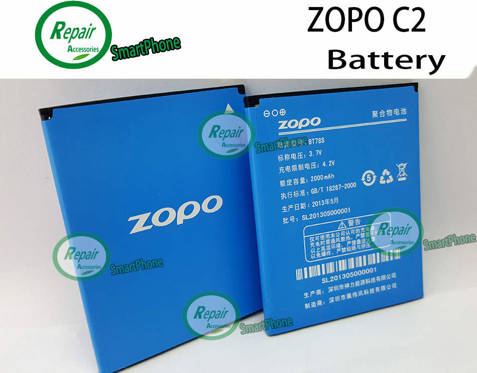 Гаджет  100% Original ZOPO C2 Battery 2000mah ZOPO ZP980 Battery BT78S For ZOPO ZP980+ C3 phone + Free Shipping + Tracking Number  None Бытовая электроника