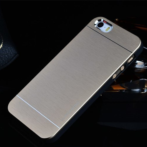 2015 Hot Cheap case For iphone 5 5S Motomo Luxury Metal Brush Gold Case Cover Aluminum and PC Hard Back Phone Case(China (Mainland))