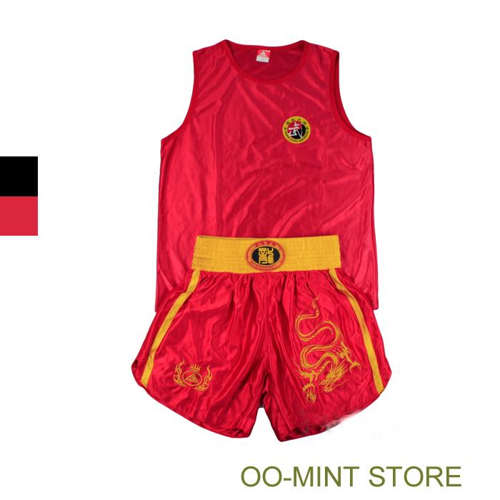 New 2015 MMA Fight Mens Man Muay Thai Shorts Boxing Fight Kung Fu Dragon Sports Training Short Men Suit Black/ Red(China (Mainland))
