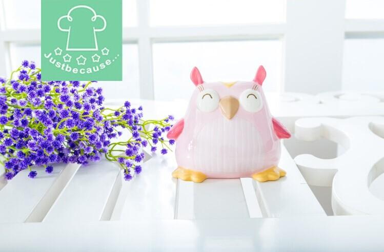 Creative home decoration ceramic piggy bank money box Christmas gift birthday gift girlfriend gift pink owl(China (Mainland))