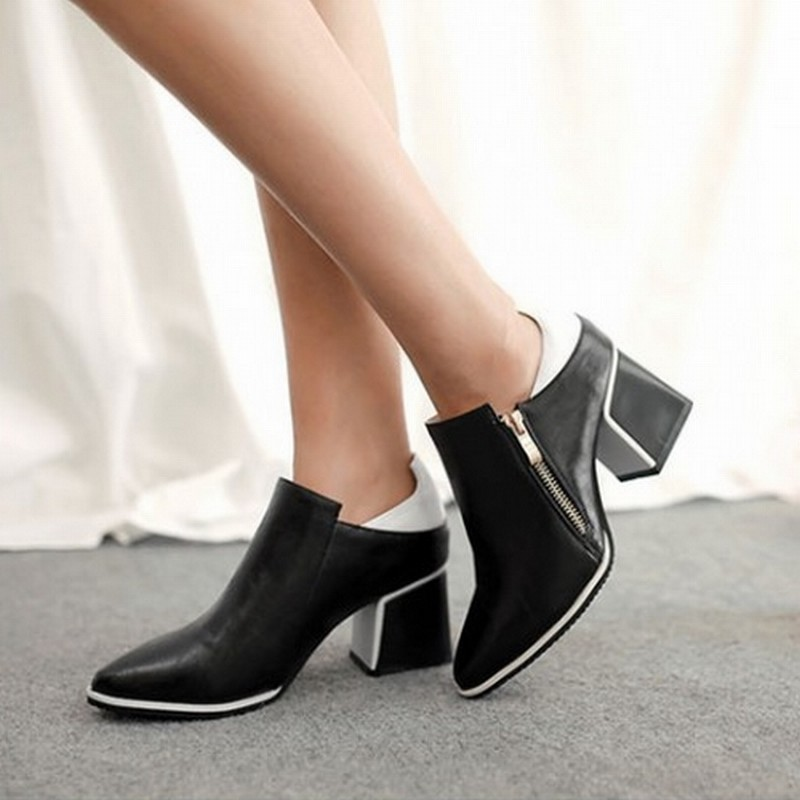 Big Size 34-43 Thick Square Heels Ankle Boots For Women Spring Autumn Dress Sexy Zipper Color Mix Motorcycle Boots Fashion 2015(China (Mainland))