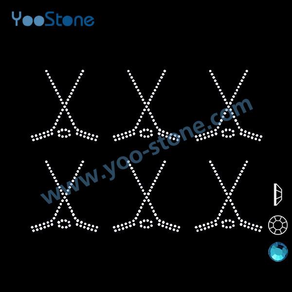 Beautiful Six Mini Hockey Sticks Rhinestone Heat Transfers, 20 Pcs/Lot Hotfix Rhinestones Motif For Decorate Fashion(China (Mainland))