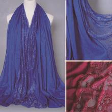 SF-062 100cm*190cm Autumn Winter Fashion Women Wide Blank Plain Cotton Pashmina Shawl Lace Scarf(China (Mainland))