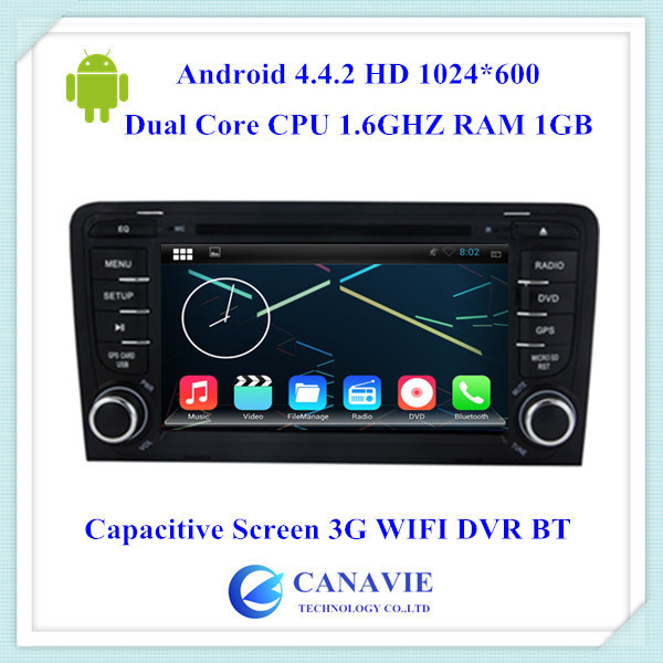 Android 4.4 HD 1024X600 Car Audio Stereo Autoradio for Audi A3 Mirrorlink 3G WIFI BT OBDII Phonebook Dual Core CPU 1.6GHZ RAM1GB(China (Mainland))