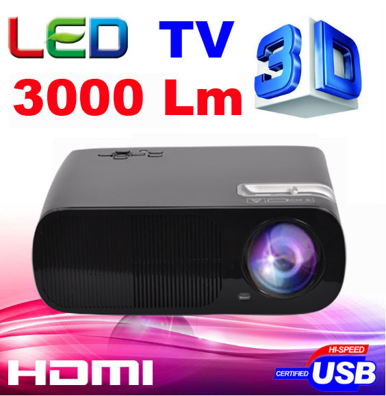Cheaper 3000lumens HD TV 2HDMI 2USB 1080p Home theater Led LCD Portable Mini movie Projector Digital Video 3D Proyector beamer(China (Mainland))