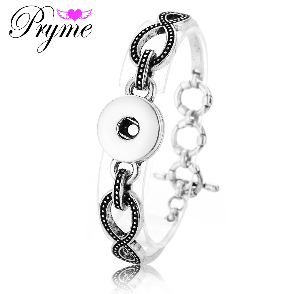 Pryme Snap Chain Link Bracelets & Bangles For Women Interchangeable Jewelry Fit 18MM Snap Buttons Strand Bracelets PB015(China (Mainland))