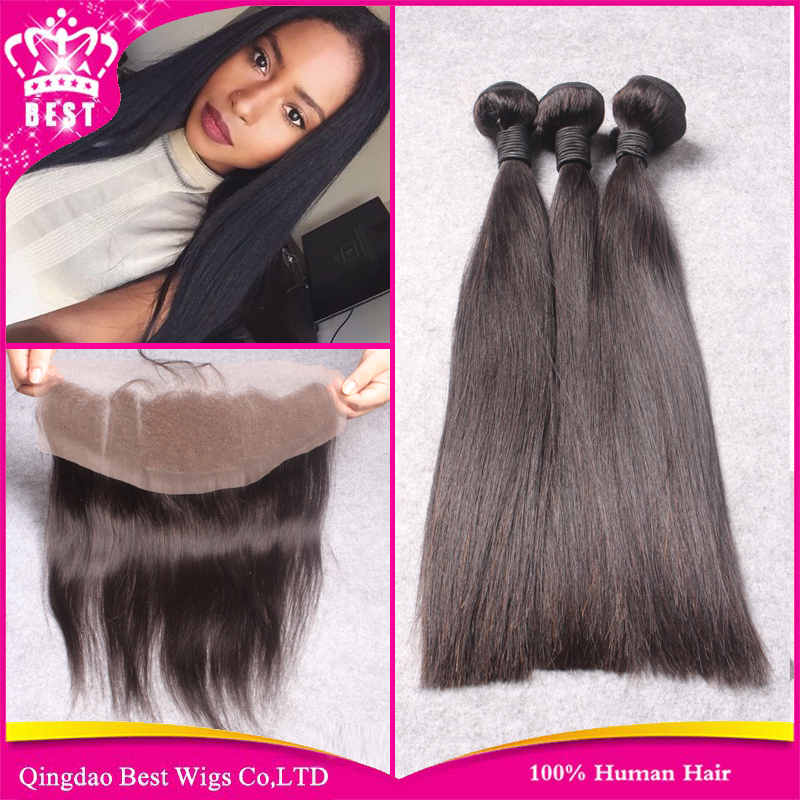 Brazilian Virgin Straight Hair Bundles With Lace Frontal Closure 13*4 Lace Frontal Closure With Bundles Lace Frontal&amp;3pcs Weave<br><br>Aliexpress