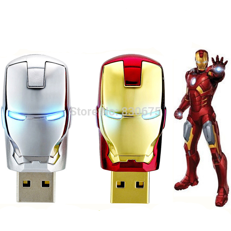 2016 Hot Sale Iron Man USB Flash Drive Pen Drive Crystal Diamond PenDrive 4GB 8GB 16GB 32GB 64GB Memory Stick/Thumb/Pendrives(China (Mainland))
