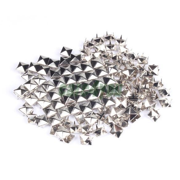 100 Pieces 7mm Pyramid Garment Rivets Square Stud Rivets for DIY Punk Bag Belt Craft Clothes Silver CA1T(China (Mainland))