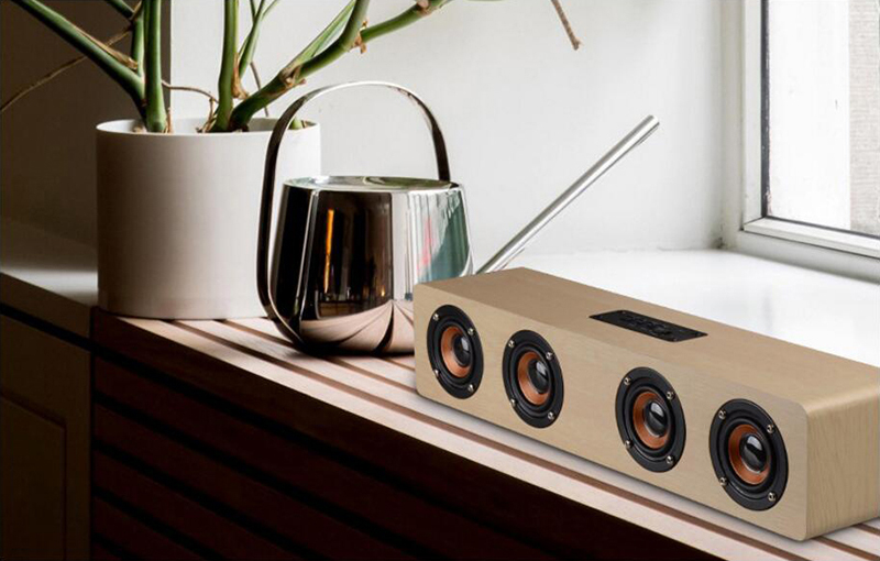 speaker wood USB microphone FM 12