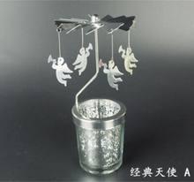 אהבת ארוחת ערב לאור נרות פמוטים מסתובב רומנטי מסתובב קרוסלה תה אור נר בעל איילי חג המולד בית תפאורה(China)
