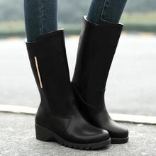 2016 mujeres de moda mitad de la pantorrilla botas dulce de piel de estilo insdie wamr nieve botas de tacones bajos slip on de cuero de la pu botas casuales(China (Mainland))