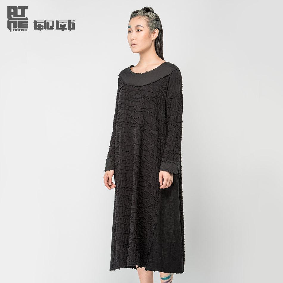 Outline Women Autumn Long Dresses Long Sleeve Loose Vestidos Desigual Black Simple Dress Waves Ripples vestiges largos L143Y001(China (Mainland))