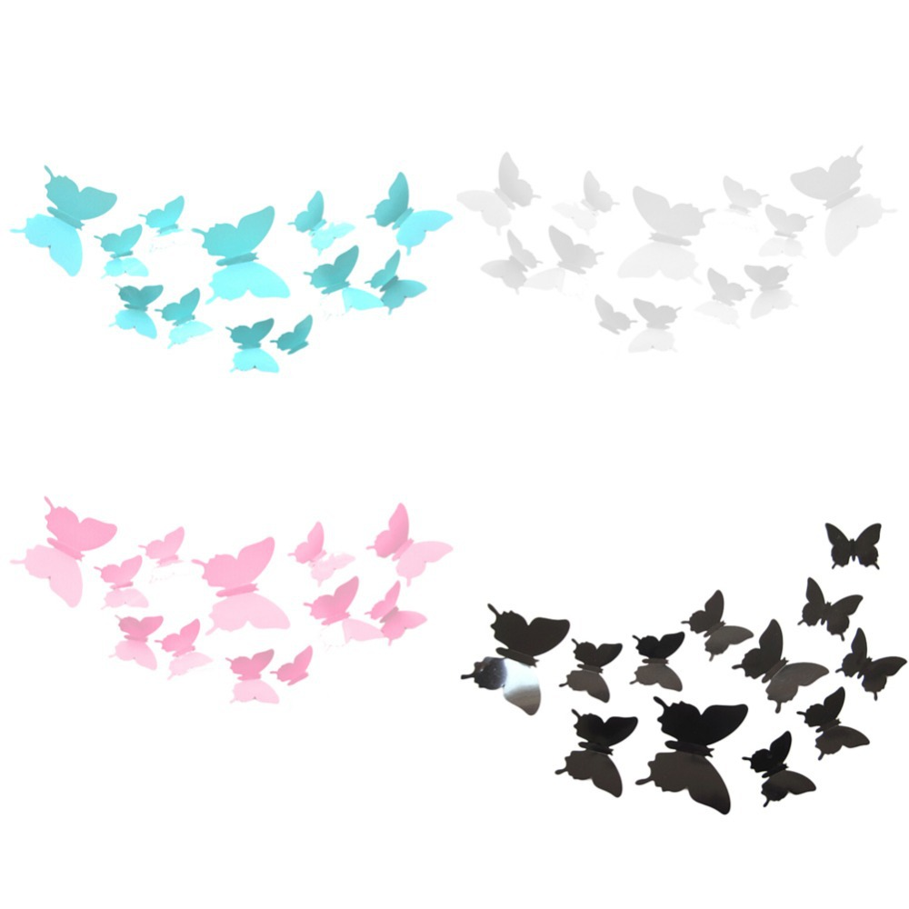 product 12PCS/Lot Butterflies 3D Wall Stickers Art DIY Home Decorations PVC Removable  Decors Wedding  Decorations Wall Decals Sticker