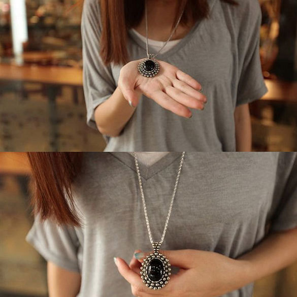 Fashion Retro Silver Ellipse Black Jewlery Girls Long Sweater Necklace V3NF