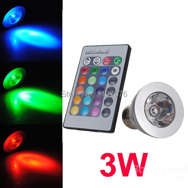 3W E27 RGB LED Spotlight Bulb 16 color changing with remote control(China (Mainland))