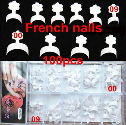 100pcs 10 sizes new french nails false short nails white short wrap french tips style acrylic nails packed box(China (Mainland))