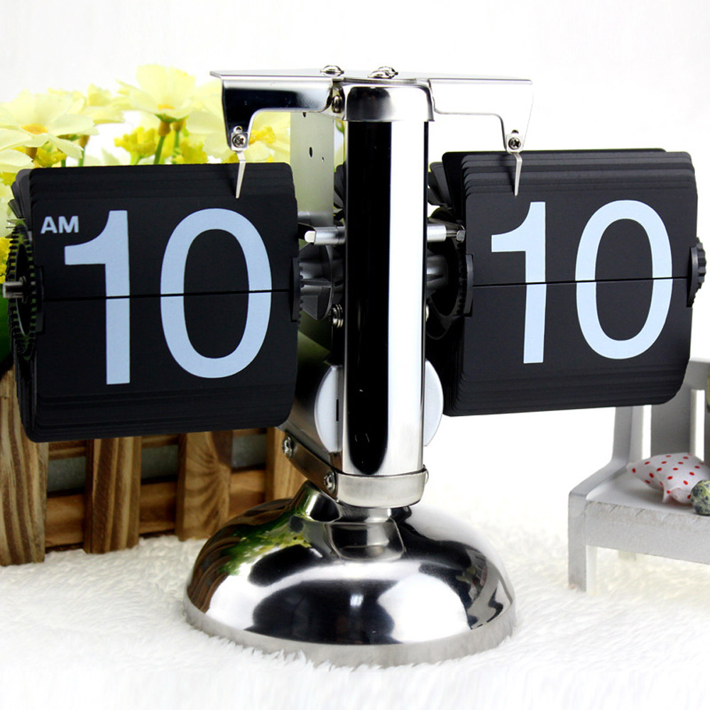 Small Scale Table Clock Retro Flip Over Clock Stainless Steel Flip Internal Gear Operated Quartz Clock Black/White(China (Mainland))