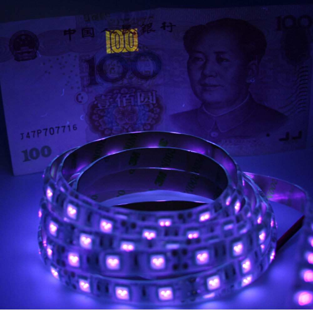 UV black light 5050 SMD Led Strip light waterproof ip65/non Ultraviolet 395-405nm Tape Ribbon lamp for DJ Fluorescence party(China (Mainland))
