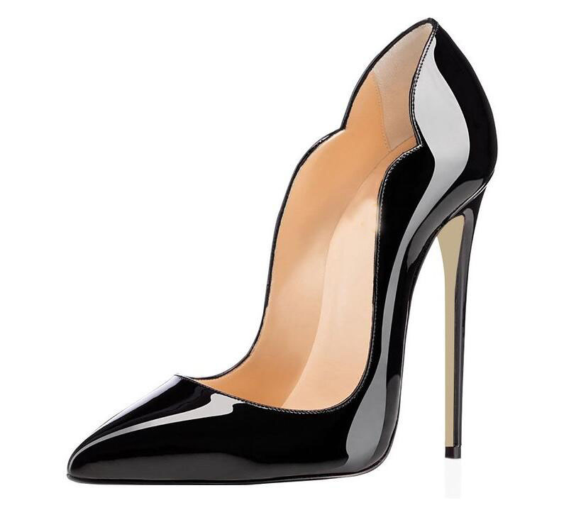 Sexy Patent Leather PVC Evening Shoes for Women High Heel Pumps Pointed Toe Stiletto 12cm Itly Euro 38 Shoes Turkey Plus Size 46(China (Mainland))