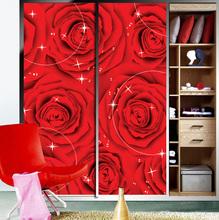 Wardrobe sliding door stickers red roses wedding room bedroom home decorative decorative art glass film(China (Mainland))
