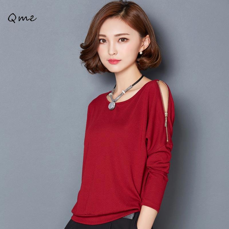 Buy off the shoulder tops for women long sleeve t shirt black red haut femme - Haut sexy femme ...