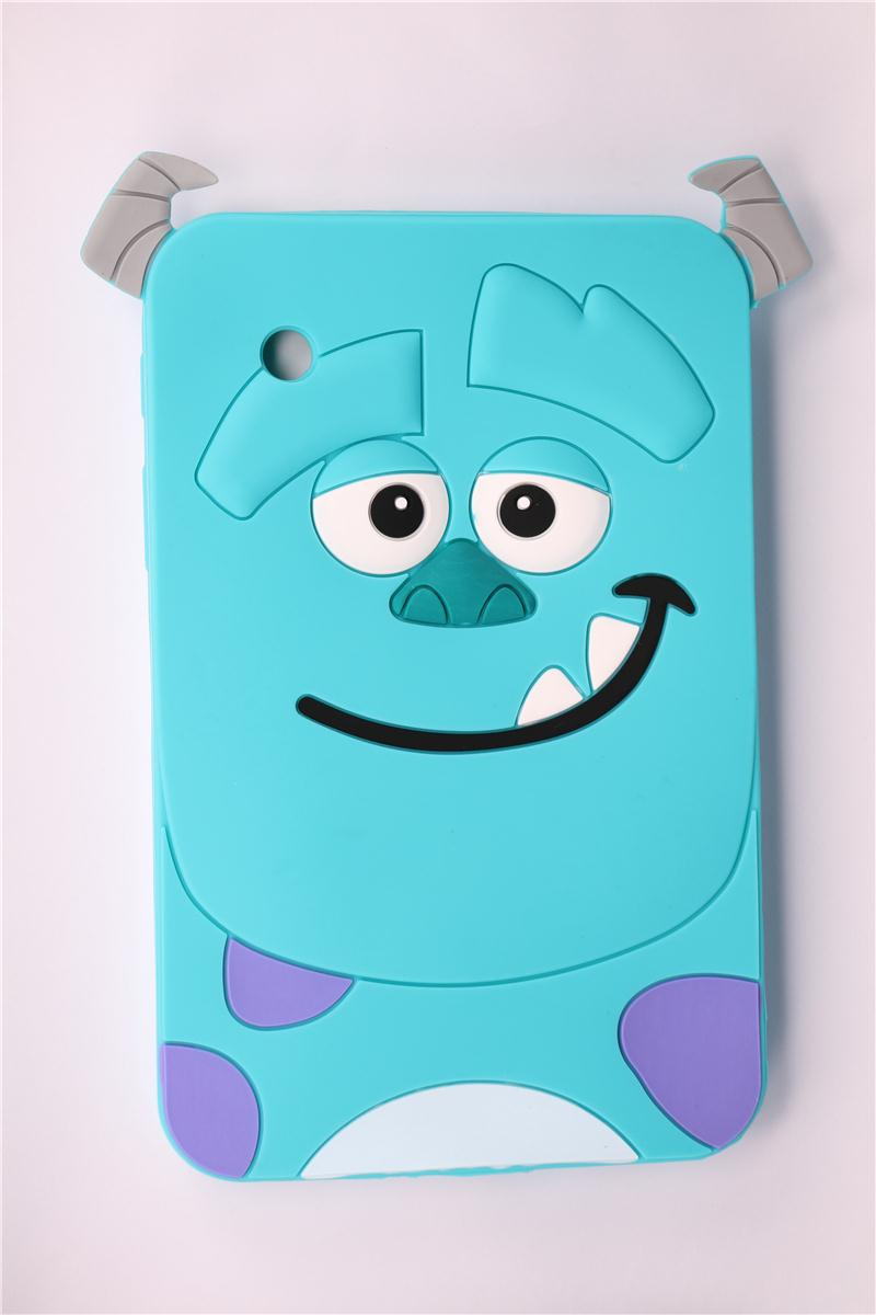 Case For Samsung Galaxy Tab 2 7.0 P3100 P3110 Durable Soft Silicone Tablet Case 3D Cartoon Cute Blue Sulley Pattern Back Covers(China (Mainland))