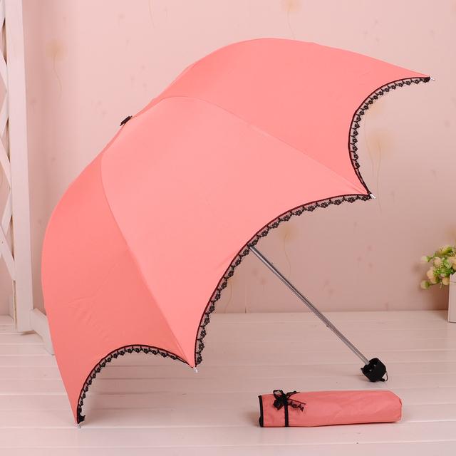 Elargol lace folding manual women sun or rain umbrella,girl's rain gear Free shipping !!!