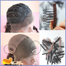 Free shipping wholesale Wig Combs and Clips Wig Accessories for Wig Cap Black and Brown Color Wig Cap Comb Straps(China (Mainland))