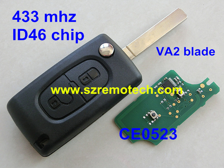 CE0523 Cheap 2 button flip remote key 433mhz with ID46 Chip VA2 307 Blade Fit For CITROEN C2 C3 C4 C5 C6 Car Alarm Keyless(China (Mainland))