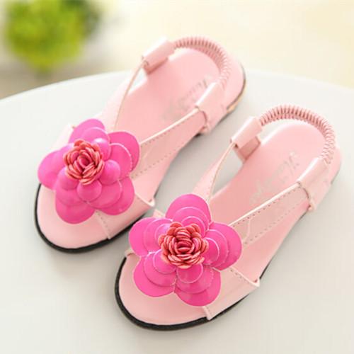 Лето дети обувь дети девочки обувь открытая носком сандалии пион цветок