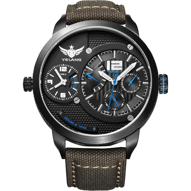 YELANG V1209 Fly Back Dual Time Zone Tritium Luminance Waterproof Sapphire Mirror Nylon Strap Multi Hands Men Sport Quartz Watch(China (Mainland))