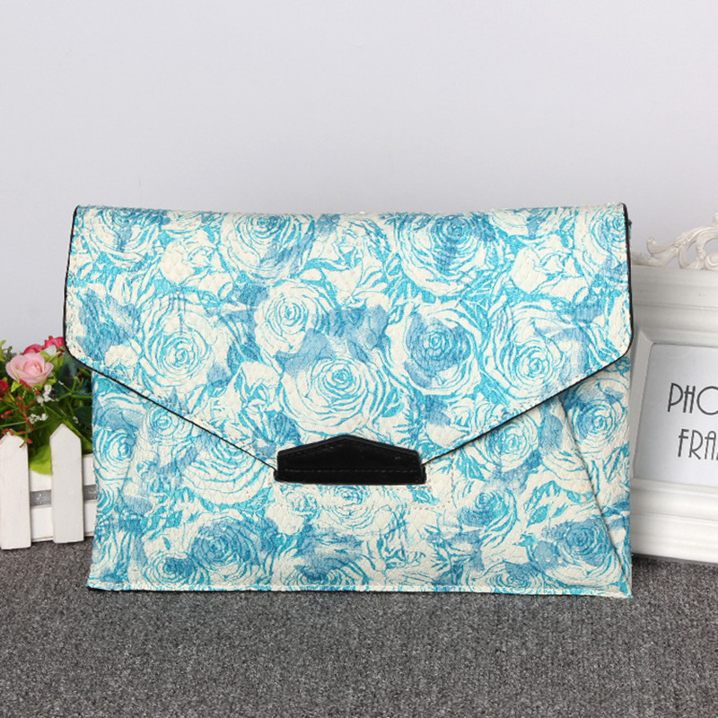 2016 Summer Genuine Leather Women Blue Rose Cowhide Messenger Bags Serpentine Envelope Clutch Chain Shoulder Handbag Evening Bag(China (Mainland))