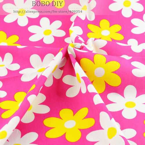 1 meter pink flower Printed cotton poplin fabric fashion clothing dress garment quilting patchwork 145cm x 100cm - TERAMILA Official Store store