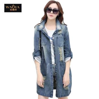 2016 New Ladies Denim jacket Fashion Autumn Hole jackets Single Breasted jeans long sleeve coat women coats Plus size S-4XL