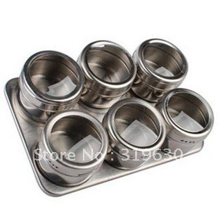 Stainless steel castor seasoning box condiment bottles of 6 taste suit kitchen supplies