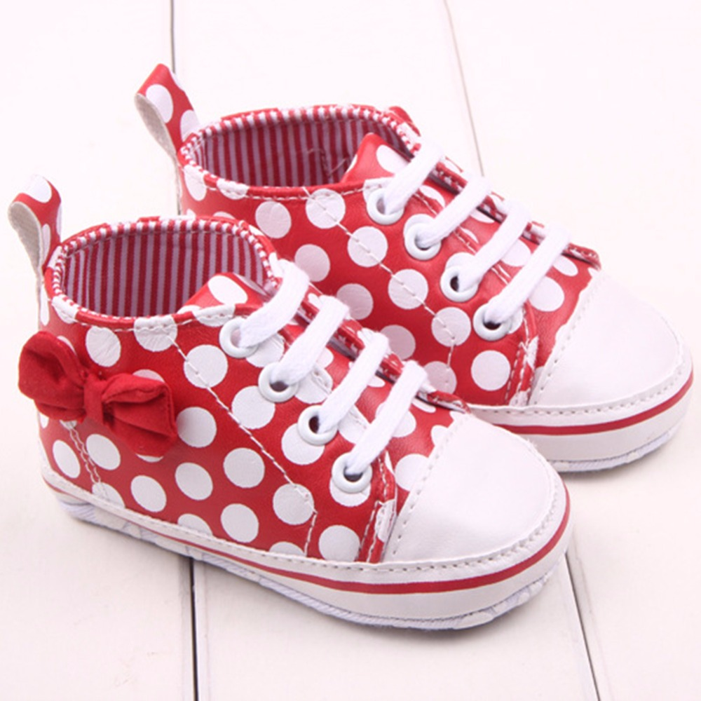Chic Girl Slip-On Sneaker Toddler Kid Comfy Polka Dots Pu Leather Baby Shoes 0-12 M