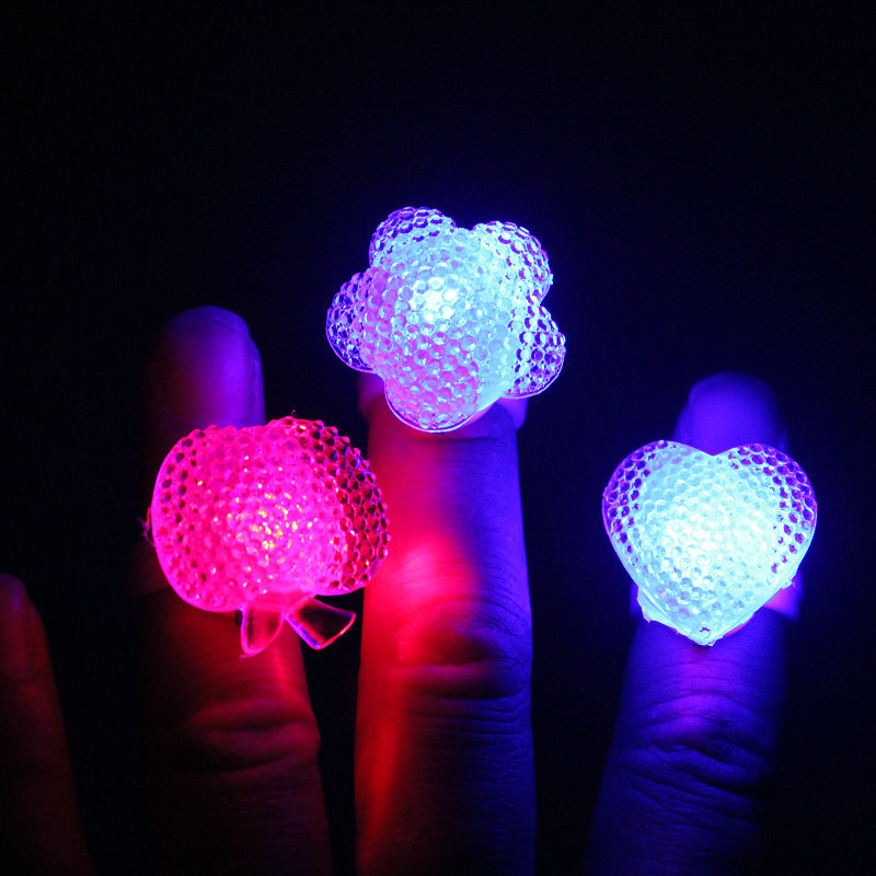 Led finger lights soft flicker fashion led finger ring for wedding and party gift,cheap kids glowing toys 500pcs/lot(China (Mainland))