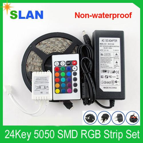 Free Shipping LED Strip Light Set RGB 60pcs/meter SMD5050 Non-waterproof DC 12V + 24Key Controller + 12V6A Power Adapter(China (Mainland))