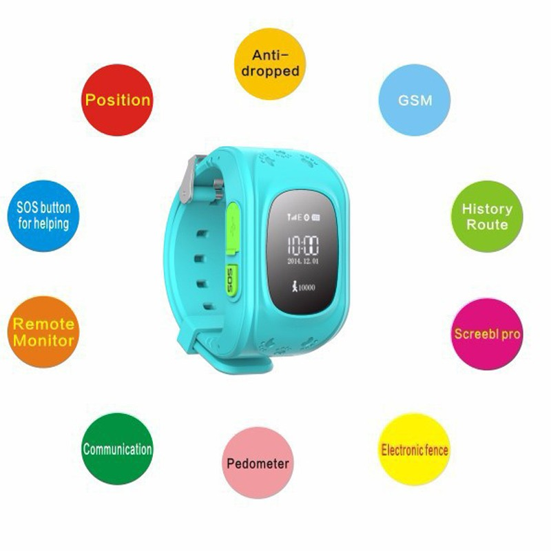 YourTribe Q50 kid Smart Watch OLED GPS Tracker SOS Smart Monitoring Positioning Phone Kids GPS Watch Compatible with IOS Android